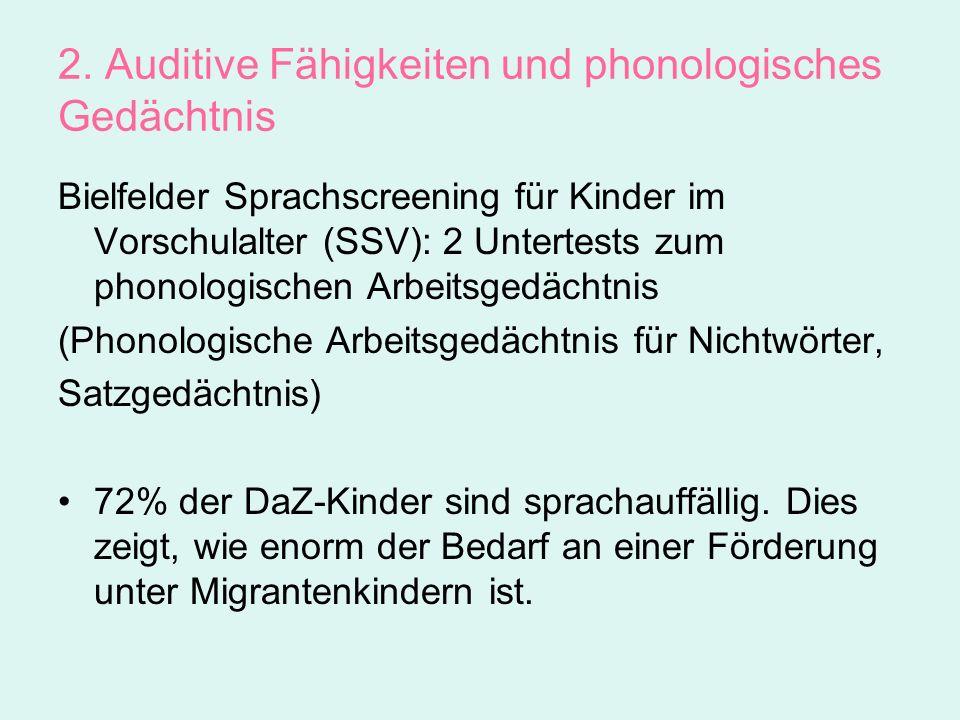 2. Auditive Fähigkeiten und phonologisches Gedächtnis