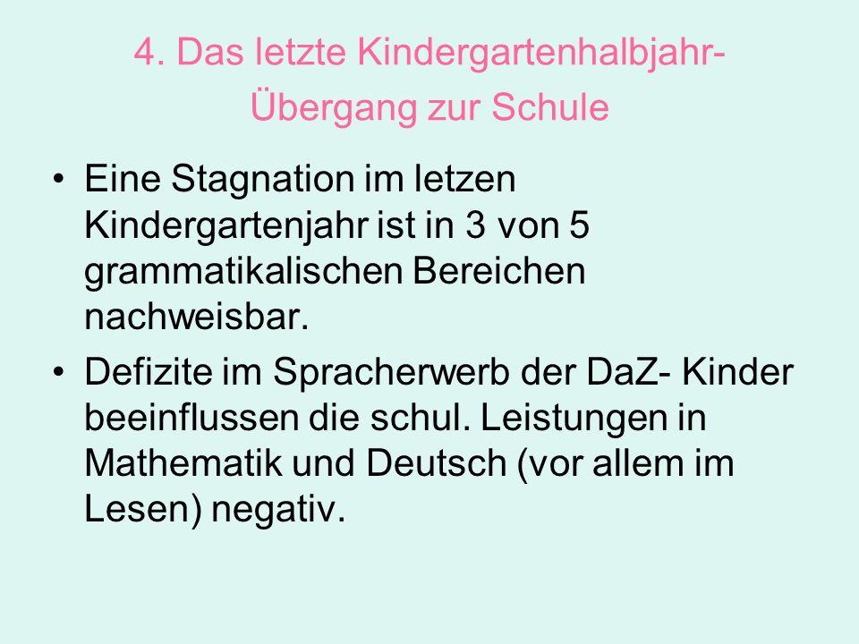 4. Das letzte Kindergartenhalbjahr- Übergang zur Schule