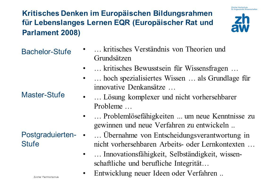 Kritisches Denken im Europäischen Bildungsrahmen für Lebenslanges Lernen EQR (Europäischer Rat und Parlament 2008)
