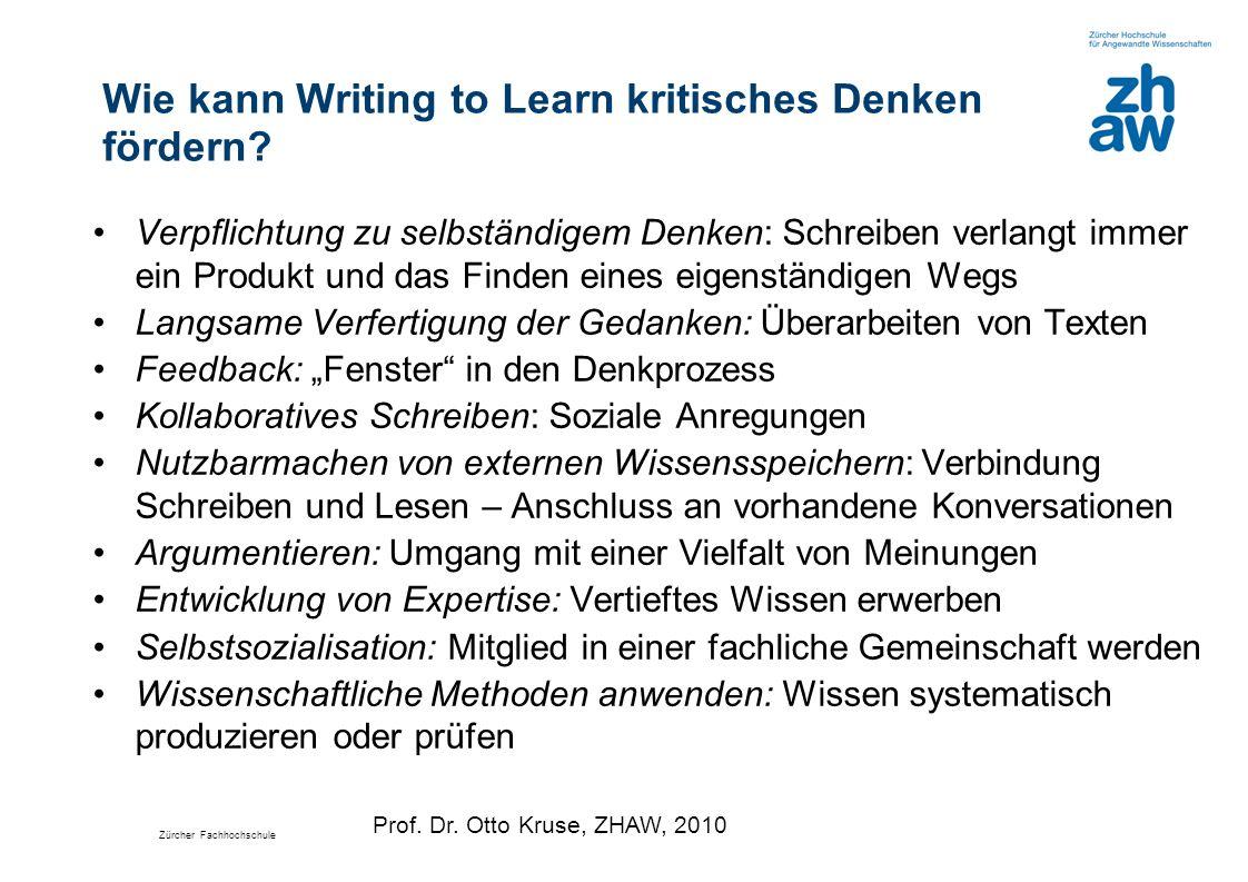 Wie kann Writing to Learn kritisches Denken fördern
