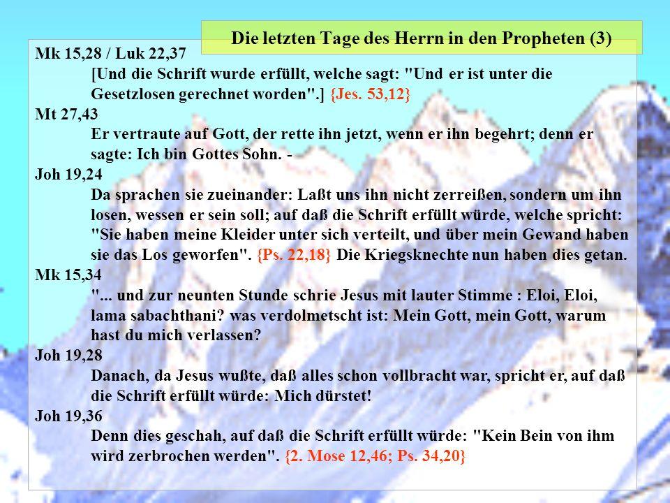 Die letzten Tage des Herrn in den Propheten (3)