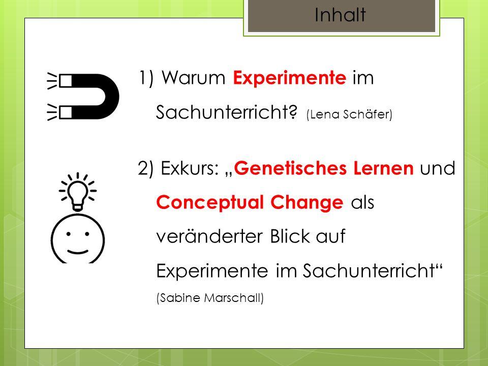 Inhalt Warum Experimente im Sachunterricht (Lena Schäfer)