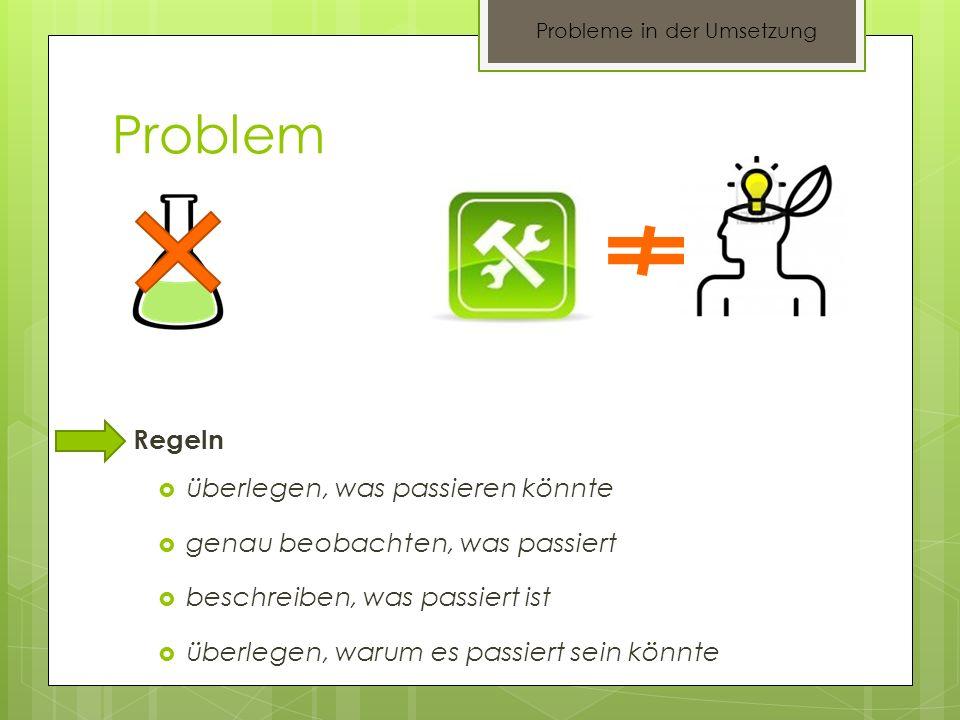 Probleme in der Umsetzung