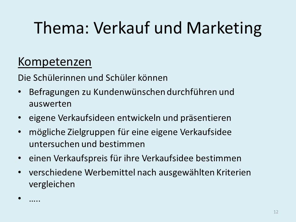Thema: Verkauf und Marketing
