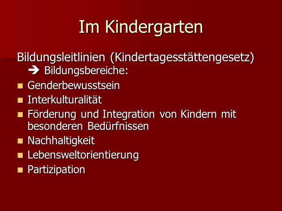 Im Kindergarten Bildungsleitlinien (Kindertagesstättengesetz)  Bildungsbereiche: Genderbewusstsein.