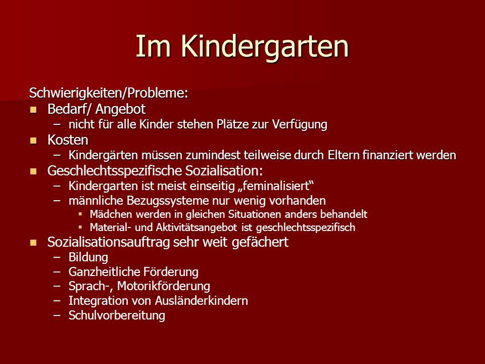Im Kindergarten Schwierigkeiten/Probleme: Bedarf/ Angebot Kosten