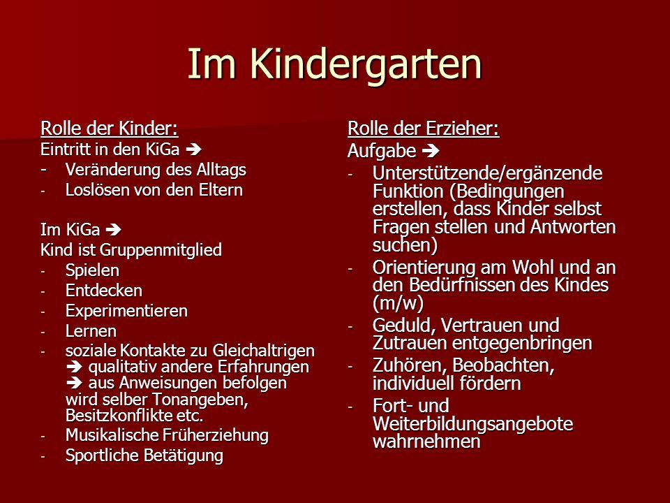 Im Kindergarten Rolle der Kinder: Rolle der Erzieher: Aufgabe 