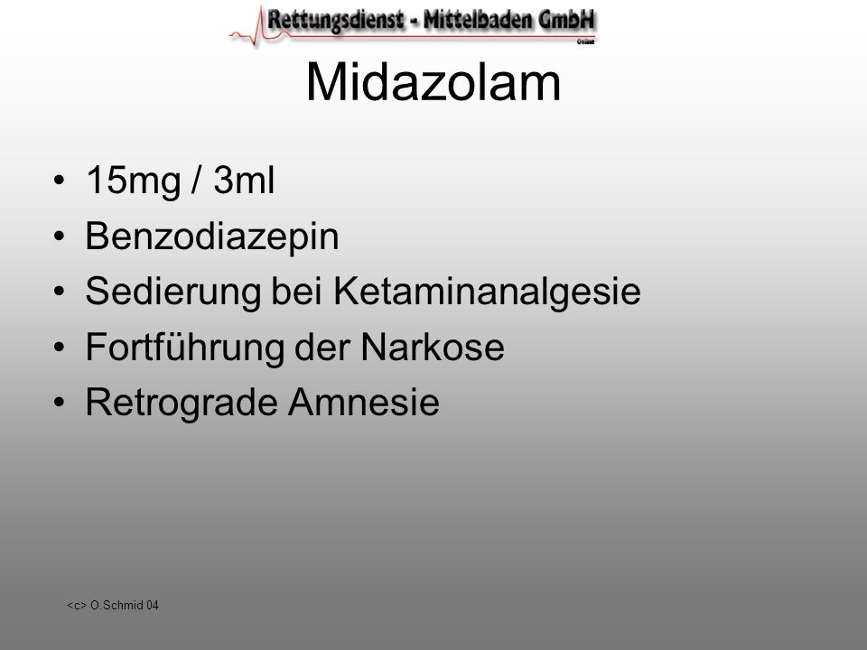 Midazolam 15mg / 3ml Benzodiazepin Sedierung bei Ketaminanalgesie
