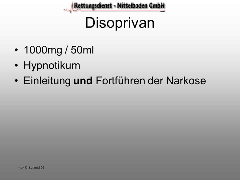 Disoprivan 1000mg / 50ml Hypnotikum