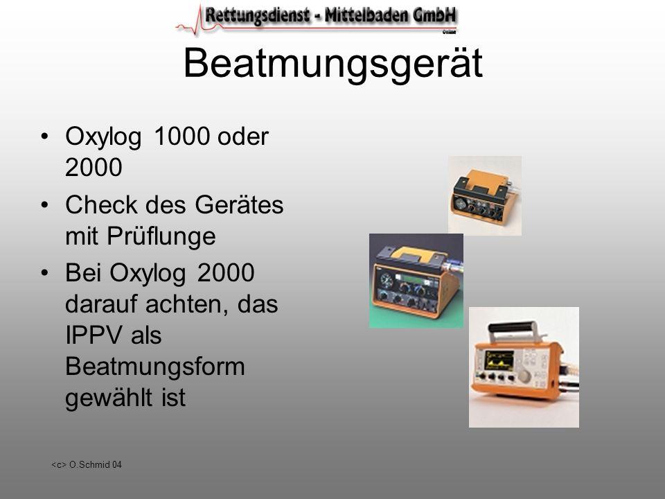 Beatmungsgerät Oxylog 1000 oder 2000 Check des Gerätes mit Prüflunge