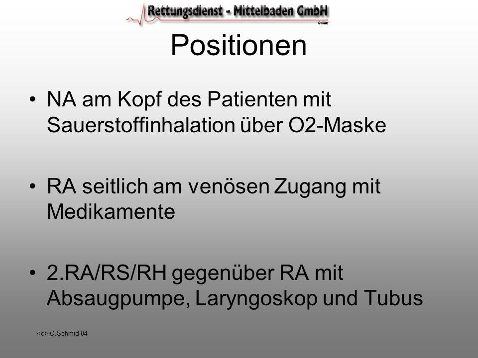 Positionen NA am Kopf des Patienten mit Sauerstoffinhalation über O2-Maske. RA seitlich am venösen Zugang mit Medikamente.