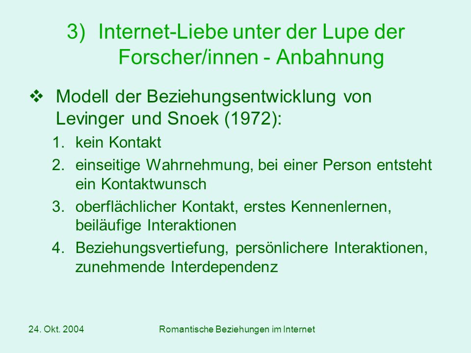 Internet-Liebe unter der Lupe der Forscher/innen - Anbahnung