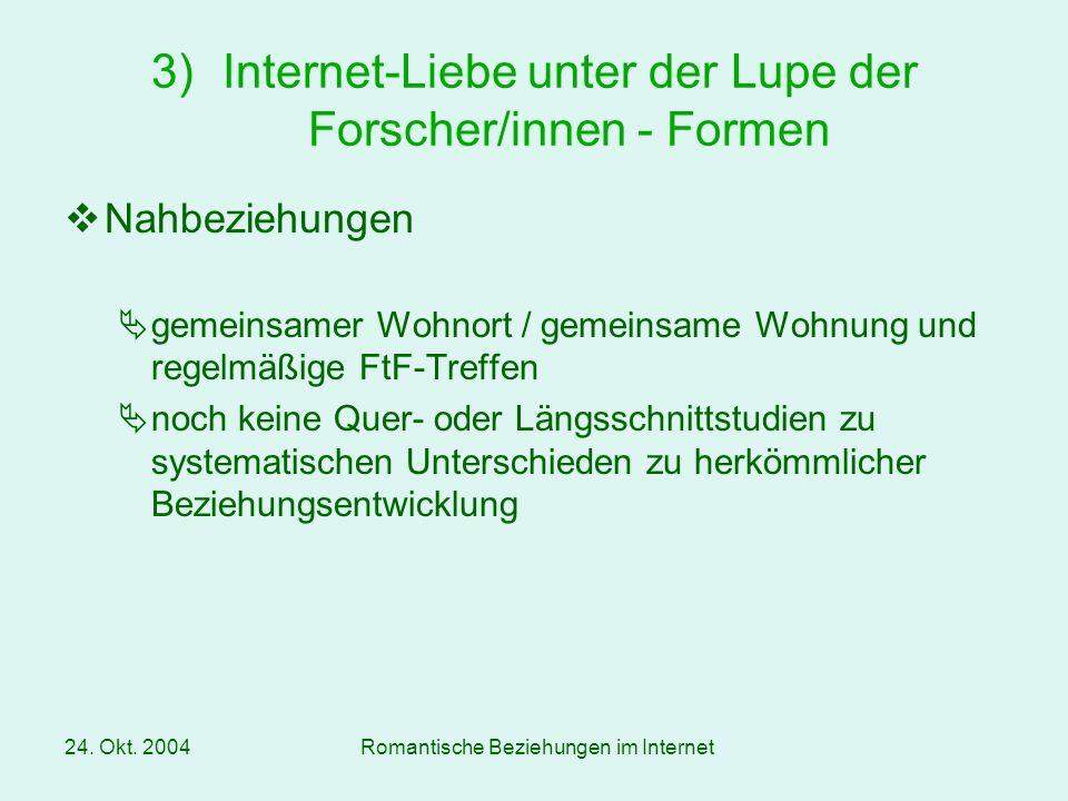 Internet-Liebe unter der Lupe der Forscher/innen - Formen