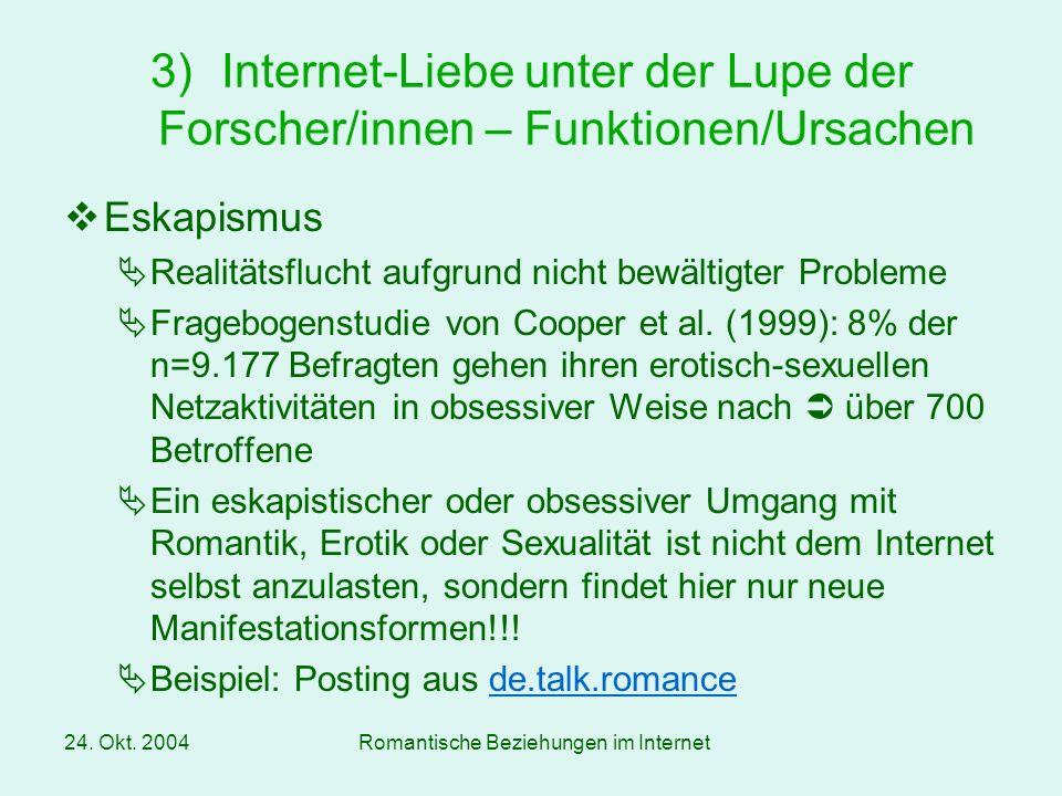 Internet-Liebe unter der Lupe der Forscher/innen – Funktionen/Ursachen