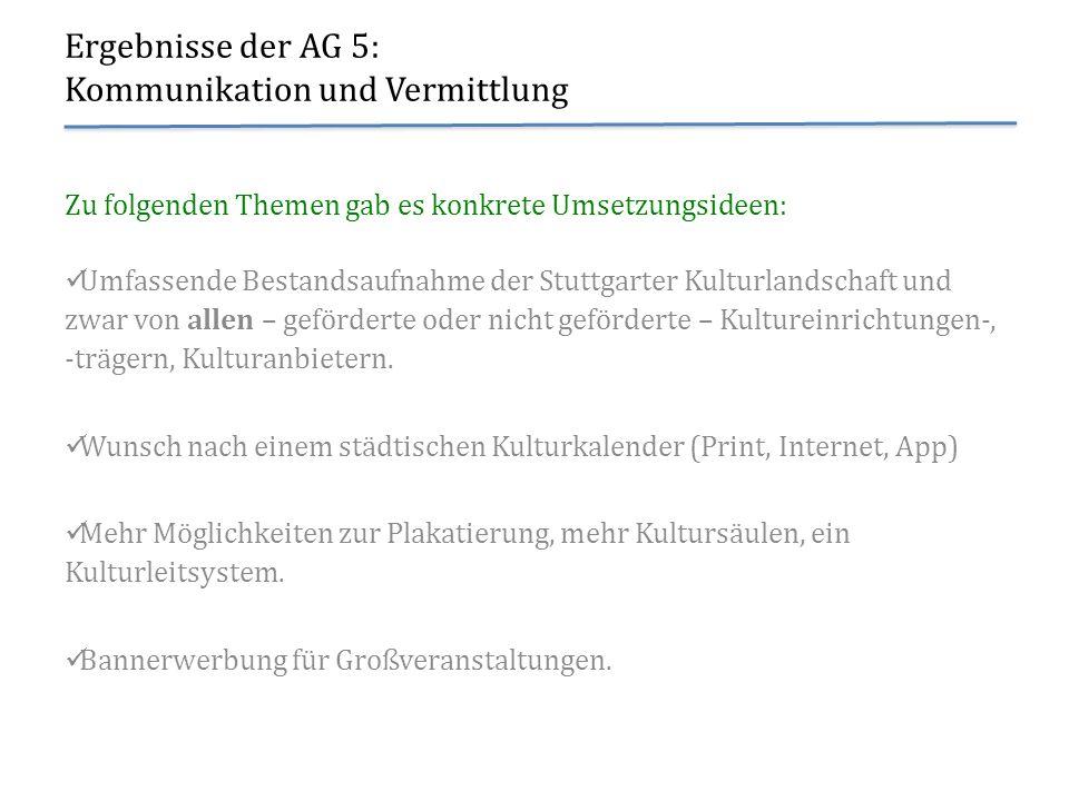 Ergebnisse der AG 5: Kommunikation und Vermittlung