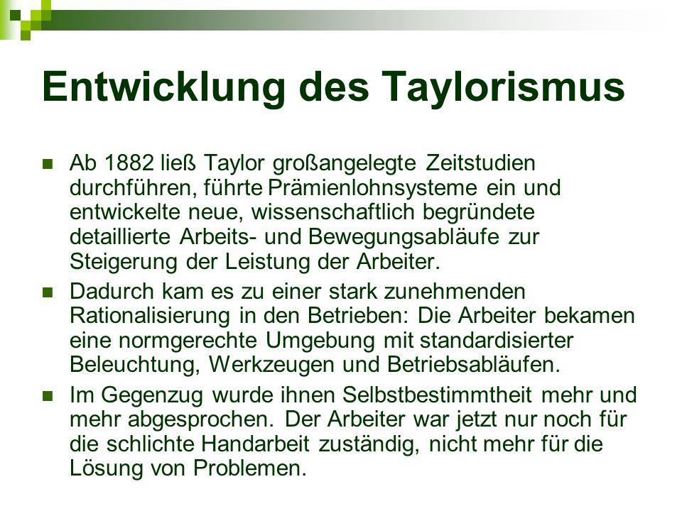 Entwicklung des Taylorismus