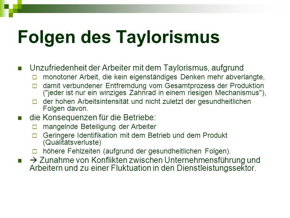 Folgen des Taylorismus