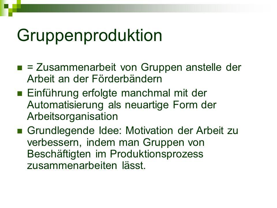 Gruppenproduktion = Zusammenarbeit von Gruppen anstelle der Arbeit an der Förderbändern.