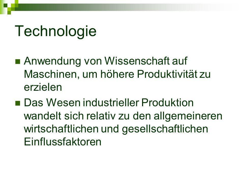 Technologie Anwendung von Wissenschaft auf Maschinen, um höhere Produktivität zu erzielen.