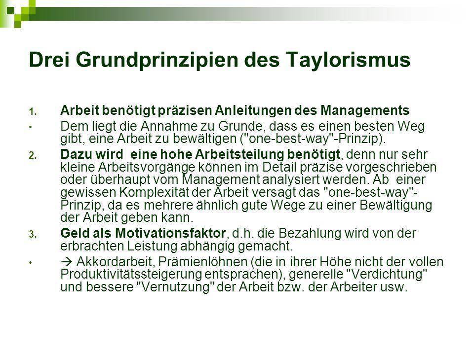 Drei Grundprinzipien des Taylorismus
