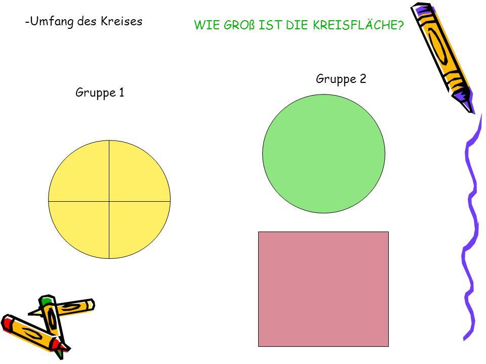 -Umfang des Kreises WIE GROß IST DIE KREISFLÄCHE Gruppe 2 Gruppe 1