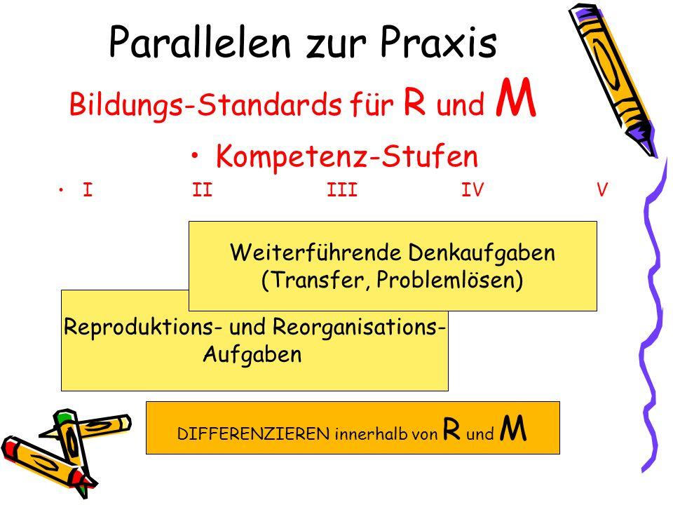 Parallelen zur Praxis Bildungs-Standards für R und M