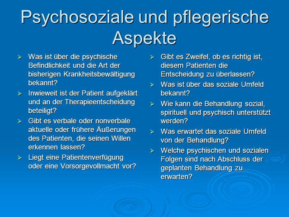 Psychosoziale und pflegerische Aspekte