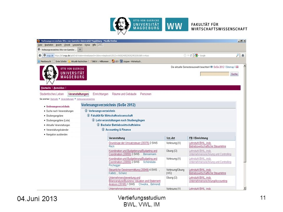 04.Juni 2013 Vertiefungsstudium BWL, VWL, IM
