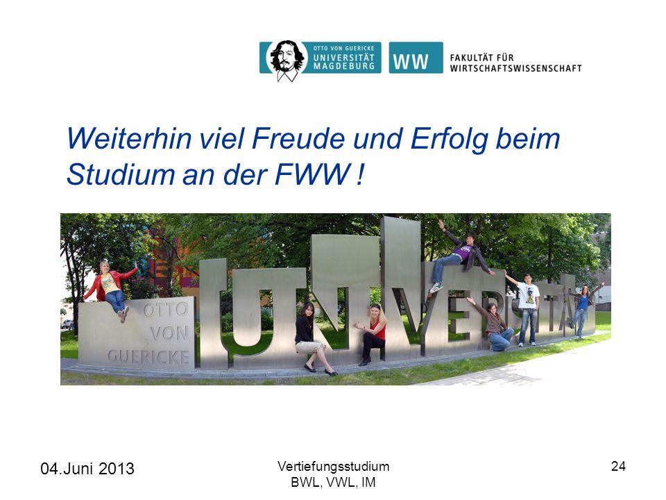 Weiterhin viel Freude und Erfolg beim Studium an der FWW !