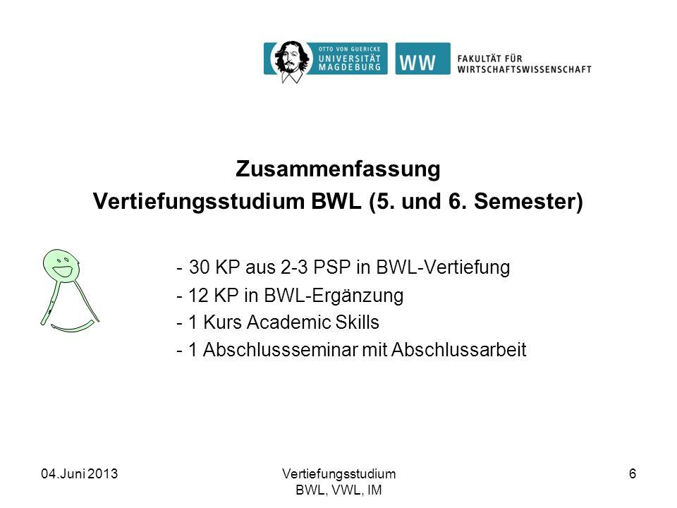 Vertiefungsstudium BWL (5. und 6. Semester)