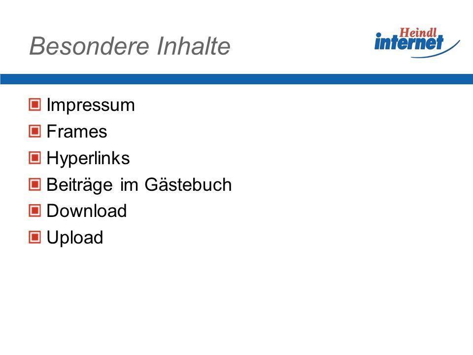 Besondere Inhalte Impressum Frames Hyperlinks Beiträge im Gästebuch