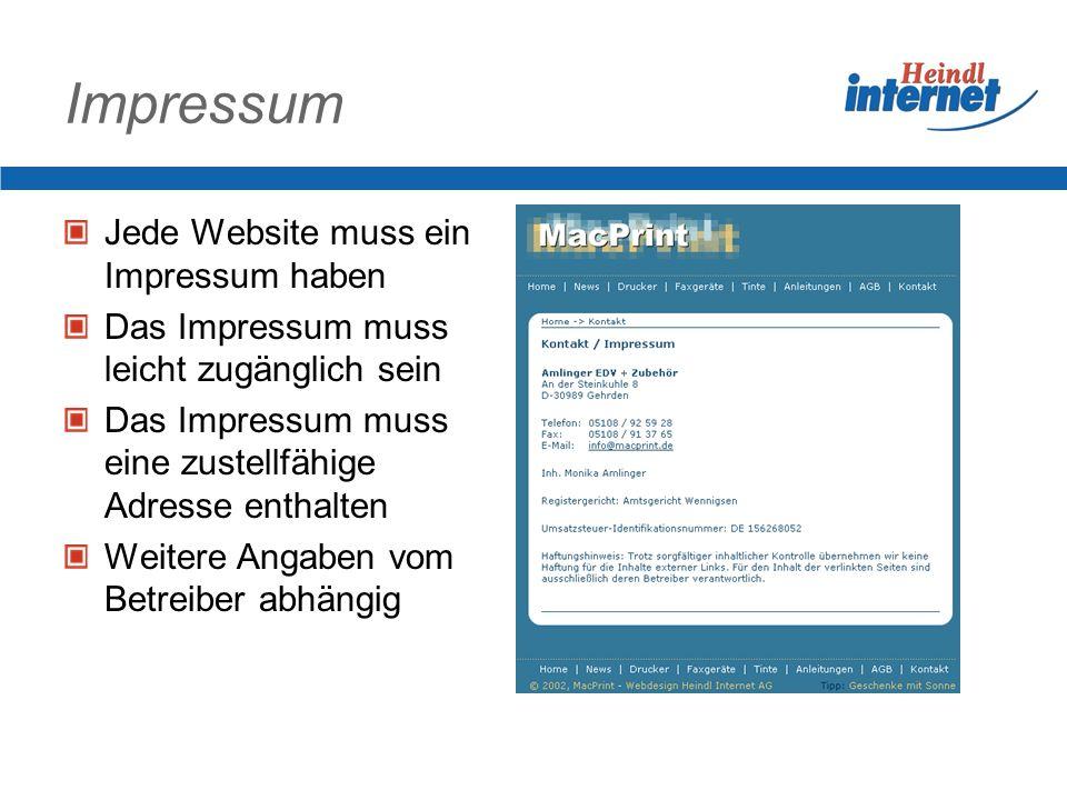 Impressum Jede Website muss ein Impressum haben