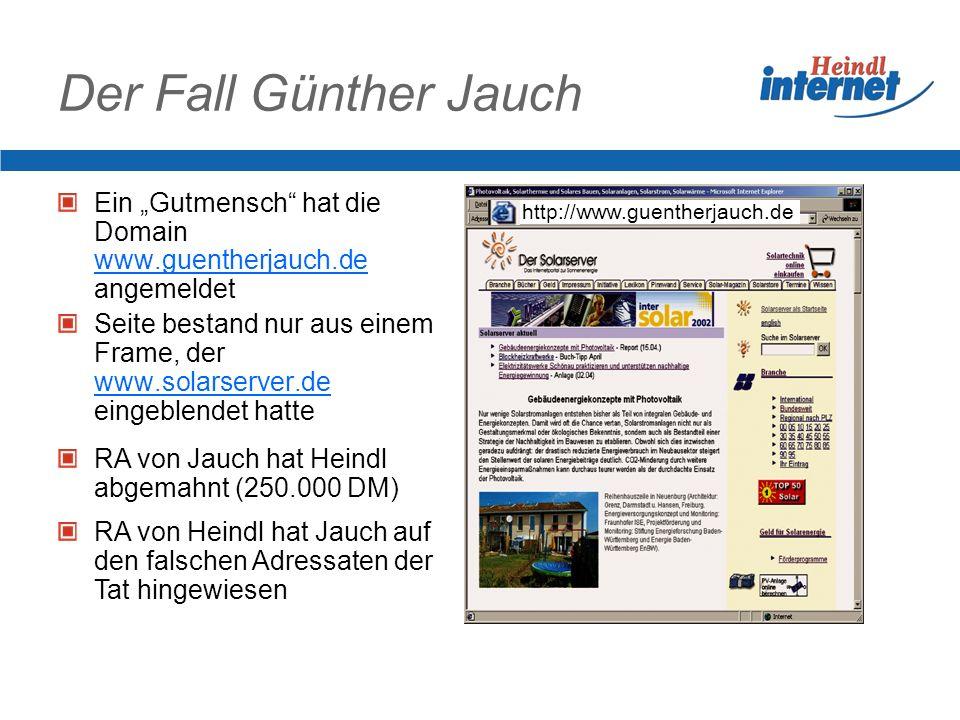 """Der Fall Günther Jauch Ein """"Gutmensch hat die Domain www.guentherjauch.de angemeldet."""