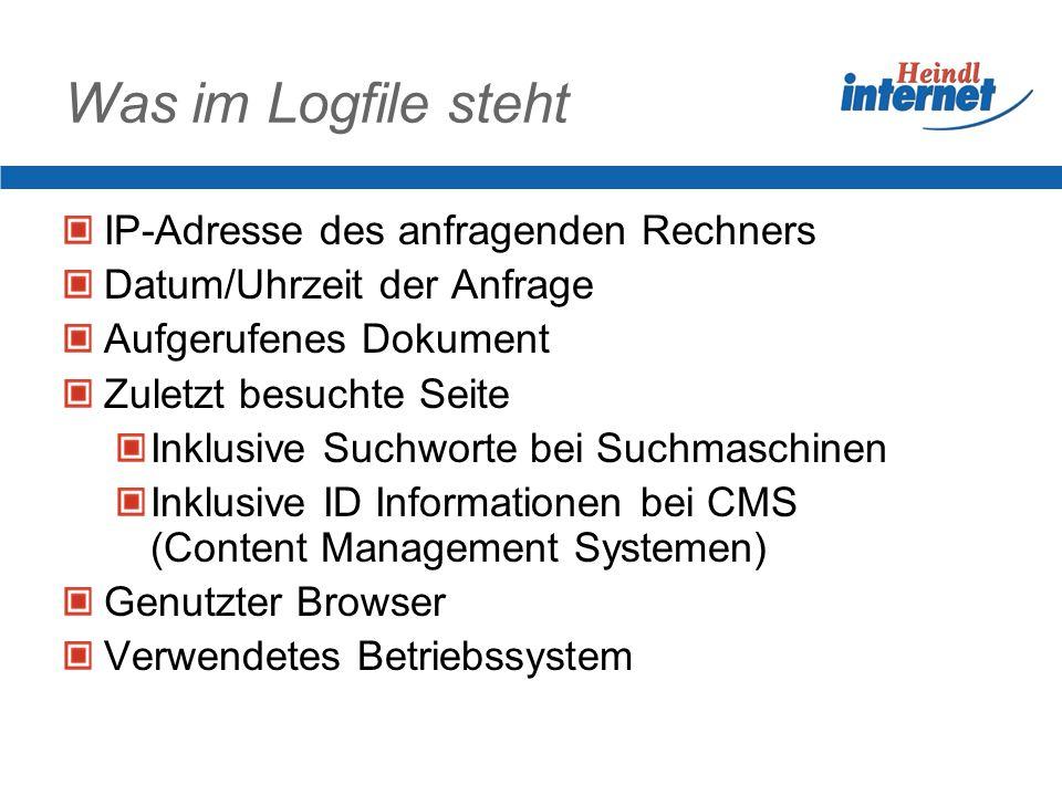 Was im Logfile steht IP-Adresse des anfragenden Rechners