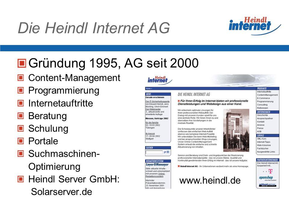 Die Heindl Internet AG Gründung 1995, AG seit 2000 Content-Management