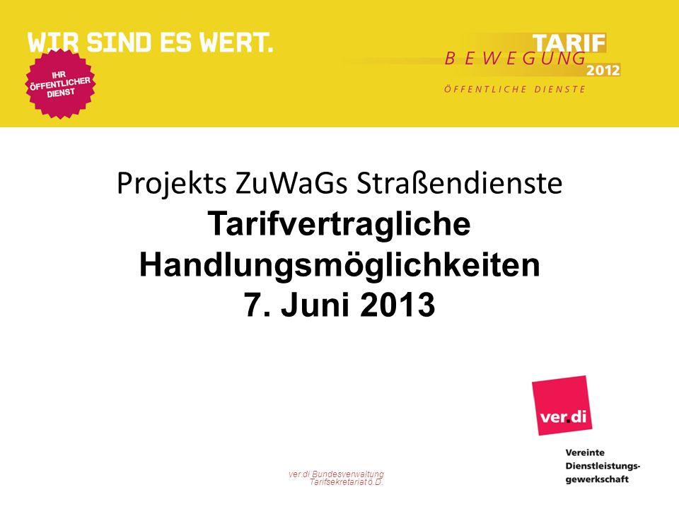 Projekts ZuWaGs Straßendienste Tarifvertragliche Handlungsmöglichkeiten 7. Juni 2013
