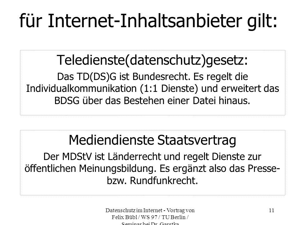 für Internet-Inhaltsanbieter gilt: