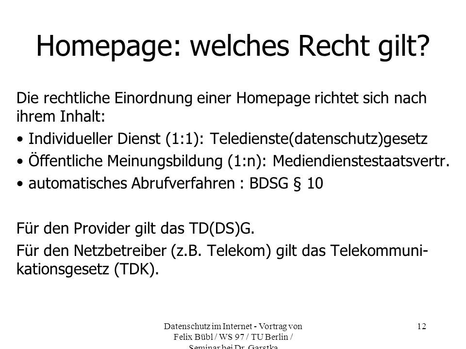Homepage: welches Recht gilt