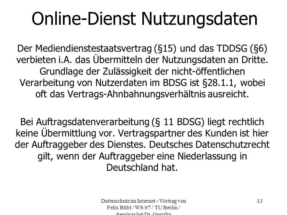Online-Dienst Nutzungsdaten