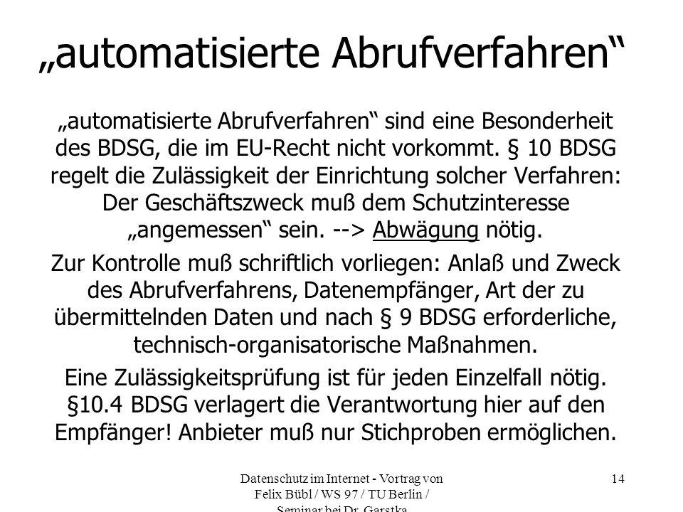 """""""automatisierte Abrufverfahren"""