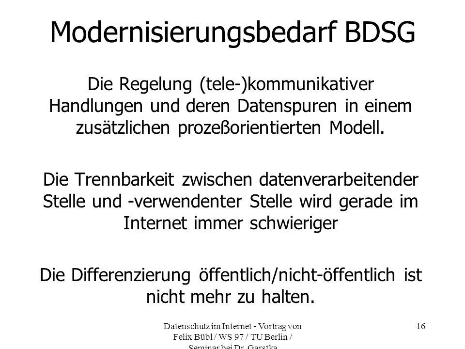 Modernisierungsbedarf BDSG
