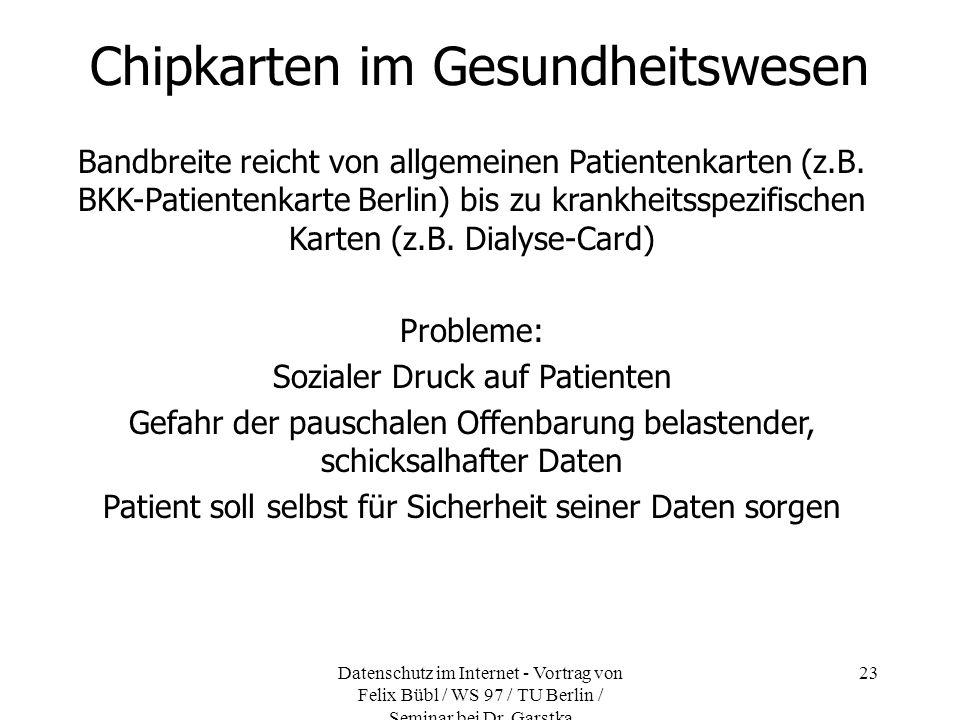 Chipkarten im Gesundheitswesen