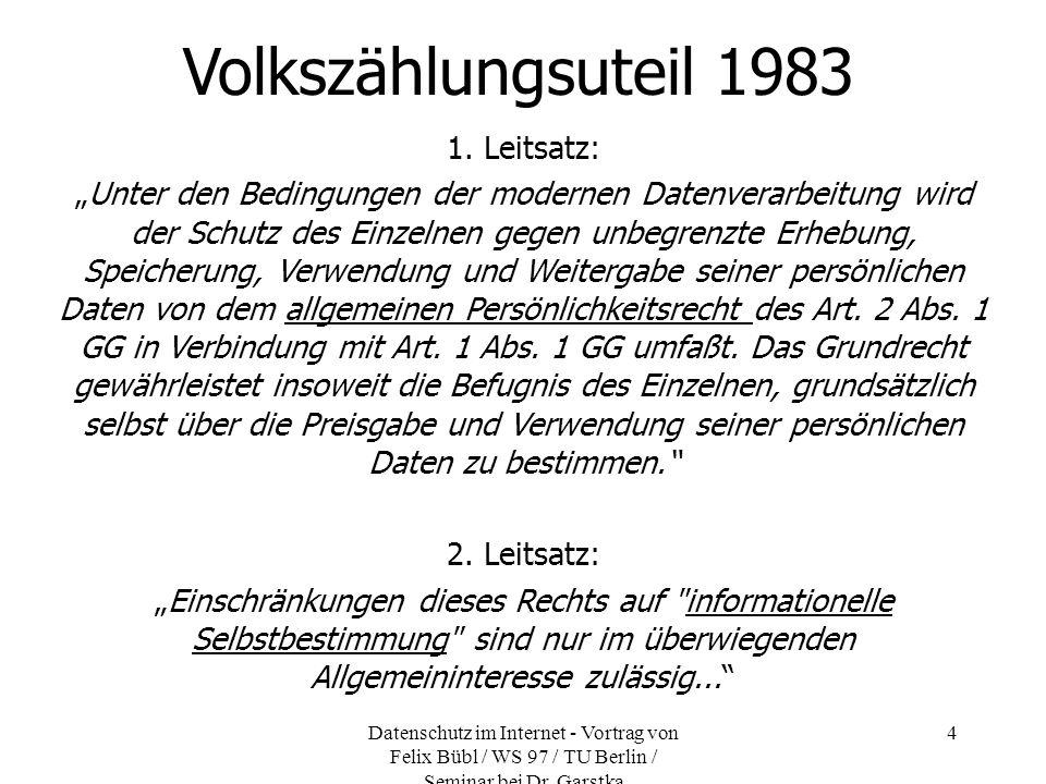 Volkszählungsuteil 1983 1. Leitsatz: