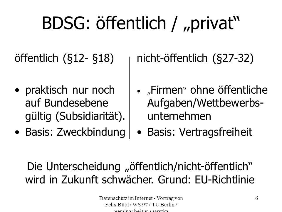 """BDSG: öffentlich / """"privat"""