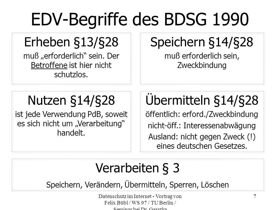 EDV-Begriffe des BDSG 1990 Erheben §13/§28 Speichern §14/§28