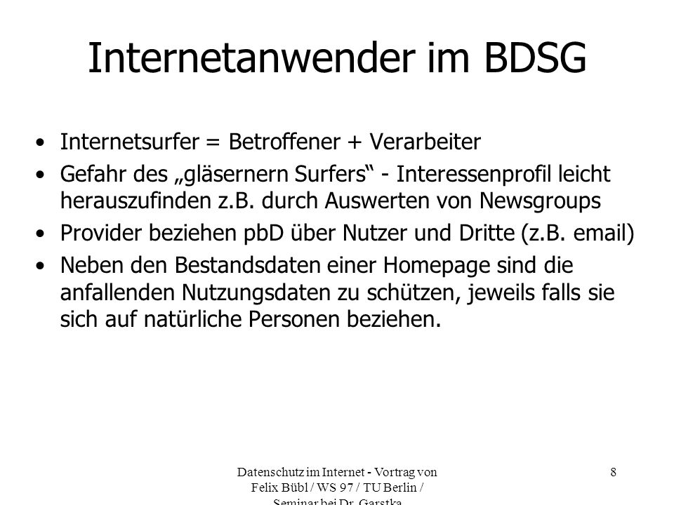 Internetanwender im BDSG