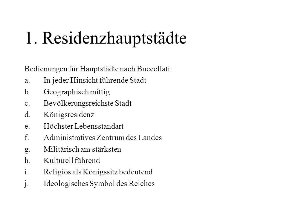 1. Residenzhauptstädte Bedienungen für Hauptstädte nach Buccellati: