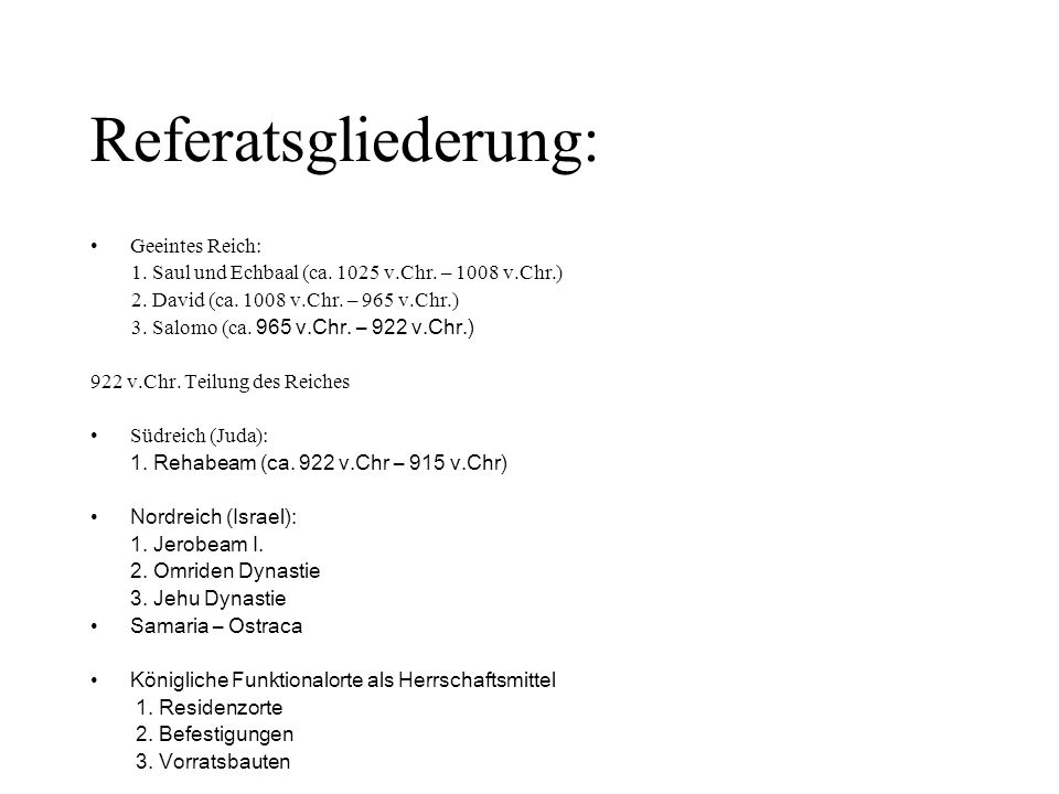 Referatsgliederung: Geeintes Reich: