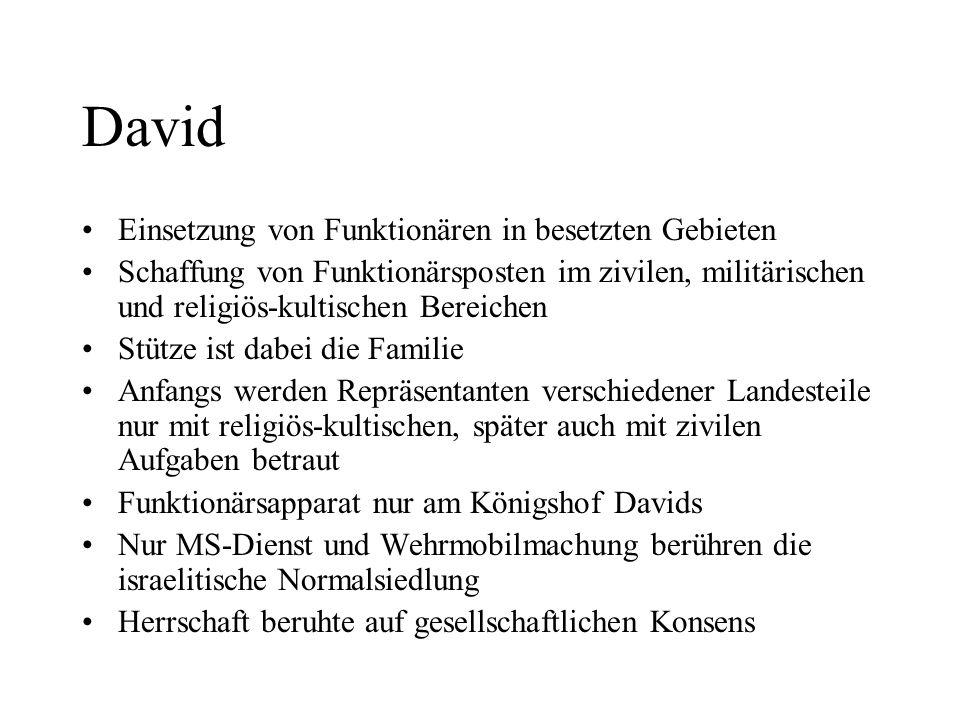 David Einsetzung von Funktionären in besetzten Gebieten