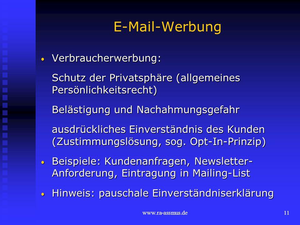 E-Mail-Werbung Verbraucherwerbung: